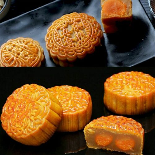 4pcs 125g 3D Flower Stamps Moon Cake Decor Mould Barrel Round Mooncake Mold 11