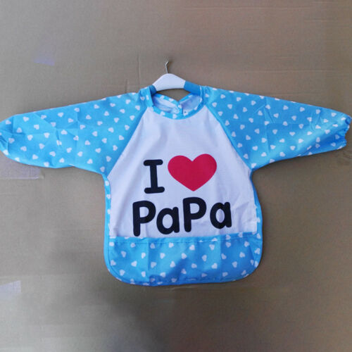 Kids Baby Bibs With Long Sleeve Waterproof Toddler Feeding Craft Apron Painting 10