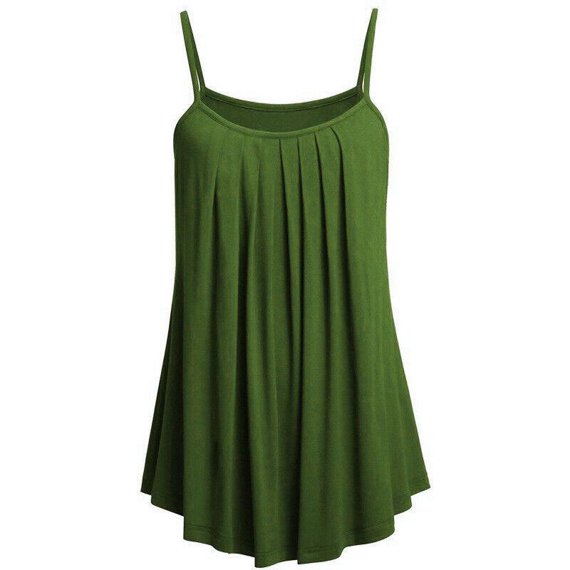 Boho Womens Ladies Cami Vest Swing Pleated Sleeveless Tank Tops Dress Size 8-24 5