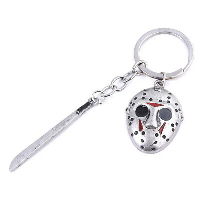 Friday the 13th Jason Voorhees Hockey Mask Kinfe Keychain Metal Keyring Jewelry 7
