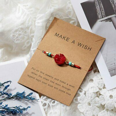 Handmade Natural Stone Rope Bracelet Bangle Friendship Couple Card Jewelry Gifts 7