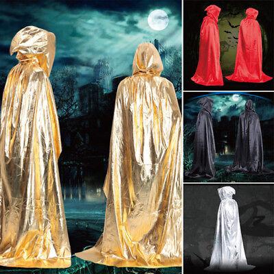 2017 Satin Lang Vampir Kapuzenumhang Hexe Kap Mantel Robe Umhang Halloween