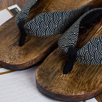 1f082ad9ec36 ... Mens Japanese Geta Clogs Flip Flops Thong Sandals Wooden Slippers Shoes  New Size 4