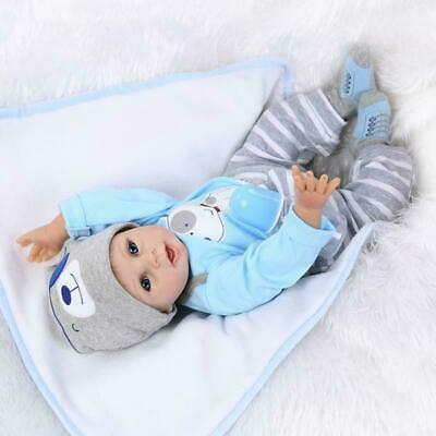 "22"" Newborn Reborn Lifelike Baby Silicone Vinyl Baby Boy Doll Blue Eyes New Gift 7"
