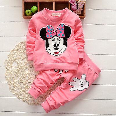 Enfants Bébé Filles Vêtements Minnie Mouse Pull Hauts + Pantalon Jogging Tenues 7