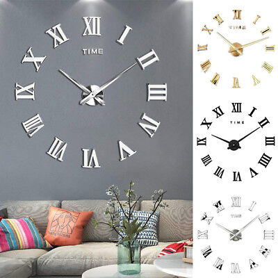 DIY 3D Wall Clock Roman Numerals Large Mirrors Surface Luxury Big Art Clock 6