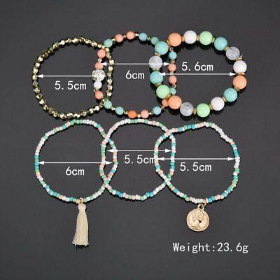 6Pcs/Set New Women Ethnic Boho Multilayer Tassel Beads Bracelet Bangle Jewelry 3