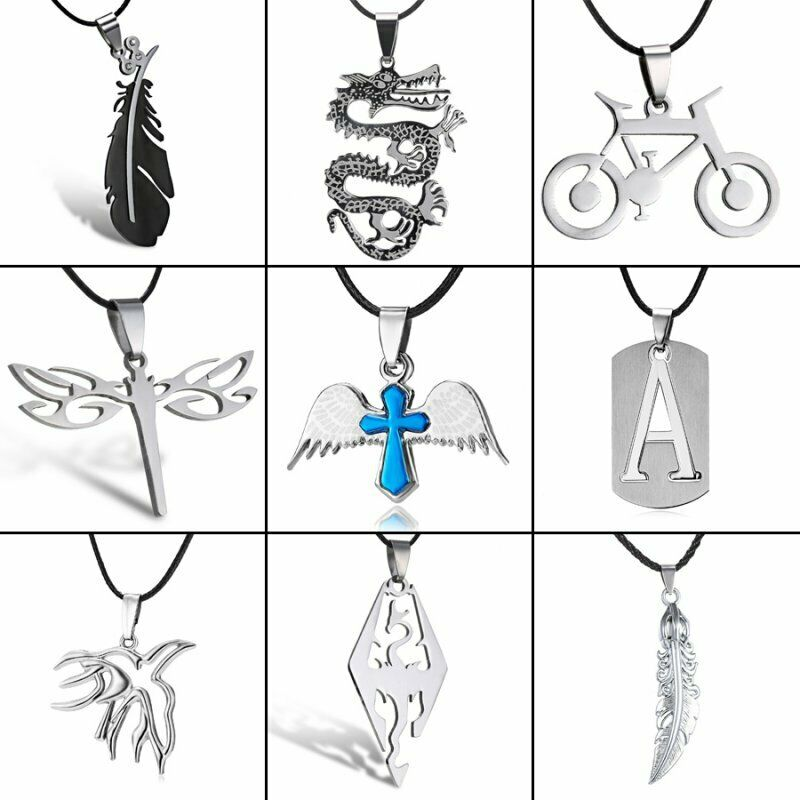 Silver Stainless Steel Men Women Punk Necklace Pendant Leather Chain Couple Gift 7