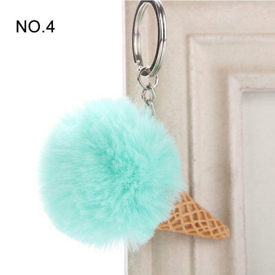 1PC Pendant Imitation Hairball Keychain Ice Cream Cute Fashion Bag Keyring 6