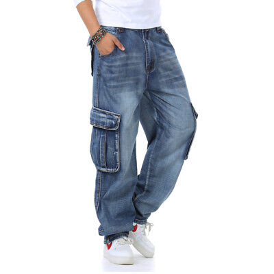 Men/'s Jeans Relaxed Fit Big /& Tall Loose Carpenter Cargo Pants Plus Size W30-W46