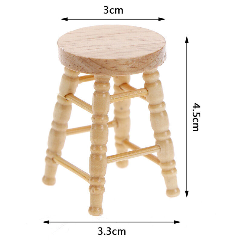 1/12 Dollhouse miniature wooden stool chair furniture accessories.decoration BF 3