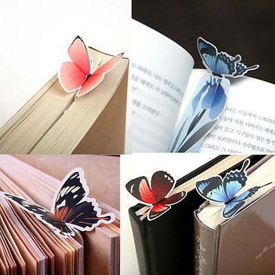 4pc Cute Butterfly On Flower Shape Exquisite Bookmarks Book Markers Readers Gift 6
