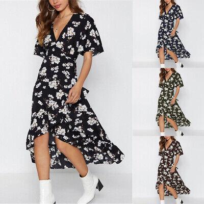 Summer Womens Floral V Neck Short Sleeve Kaftan Beach Party Dress Plus Size 6-20 10