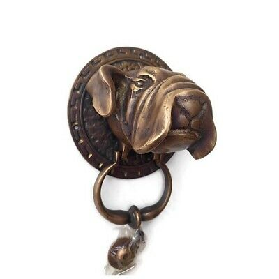 large heavy Bull dog frount Door Knocker SOLID  BRASS old style house banger B 5