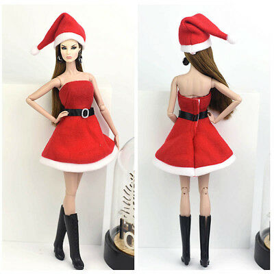 Handmade Merry Christmas Outfit For Blythe Doll Dress Hat Clothes For 1/6 doll 5