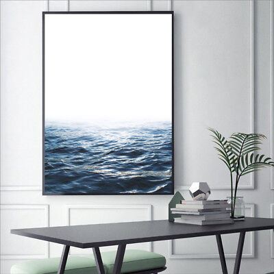 Blue Ocean Geometric Artwork Bird Canvas Painting Sea Waves Wall Print Art Decor 5
