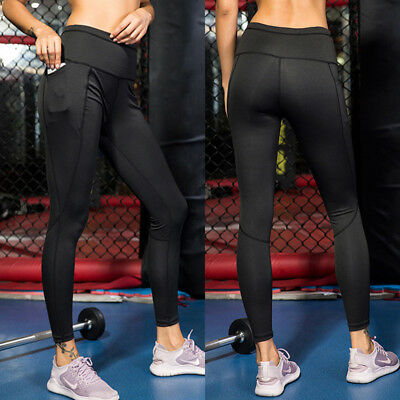 Women Workout Running Yoga Tights with Pocket Slimming Dri-fit Long Pants US X82