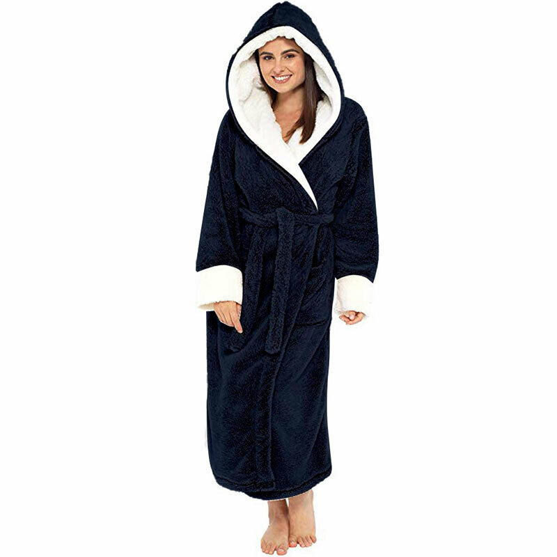Women Dressing Gown Hoodie Nightwear Fluffy Soft Warm Winter Hooded Bath Robe 11