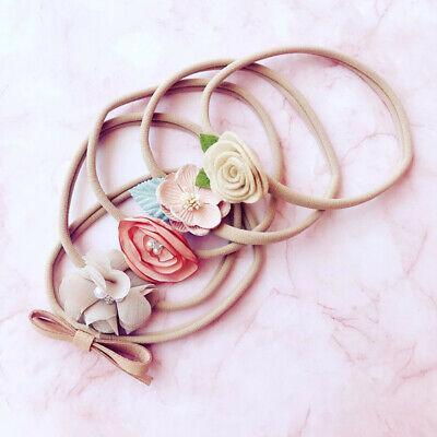Handmade 5pcs/Set Newborn Baby Girl Headband Elastic Headdress Kid Hair Band Bow 2