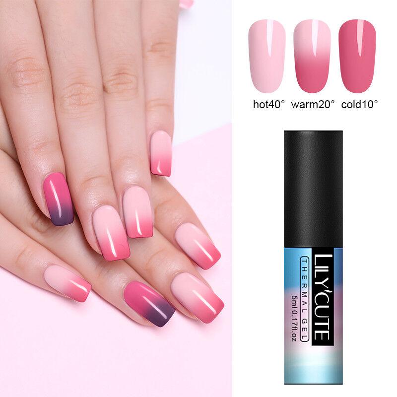 5ml LILYCUTE Nail Art Vernis à Ongles Semi Permanent Gel UV Thermal Gel Polish 2