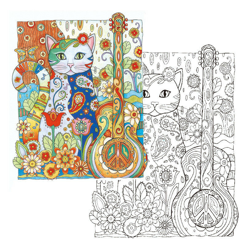 Haven Creative Cats Colouring Book Adults Stress Reliever Secret Garden Gift