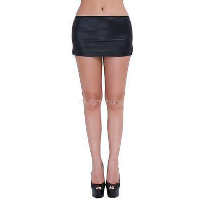 Damenrock Leder-Optik Minirock Kurz Micro Mini Rock mit Panties Dessous Schwarz 12