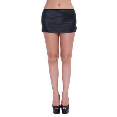 Wetlook Minirock Damen GoGo Clubwear Party Lack Leder Glanz Optik mit G-string 12