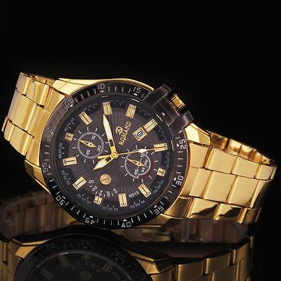 Luxury Mens Black Dial Gold Stainless Steel Date Quartz Analog Sport Wrist Watch 11