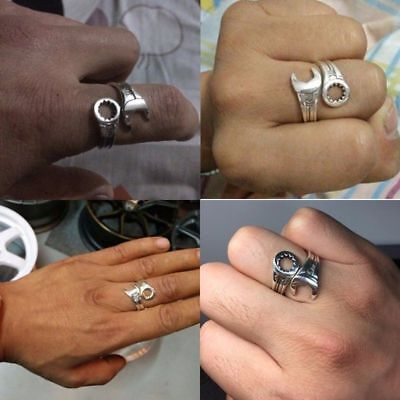 Men's Retro Love Vintage Punk Rings Sterling Silver Cool Wrench Silver Jewelry 6
