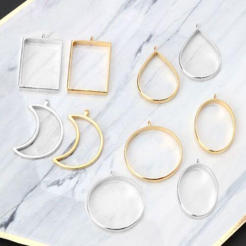 10Pcs Geometric Hollow Pressed Flower Resin Blank Frames Pendants Jewelry Making 5