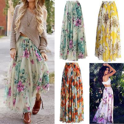 AU Chiffon BOHO Womens Floral Jersey Gypsy Long Maxi Full Skirt Beach Sun Dress 11