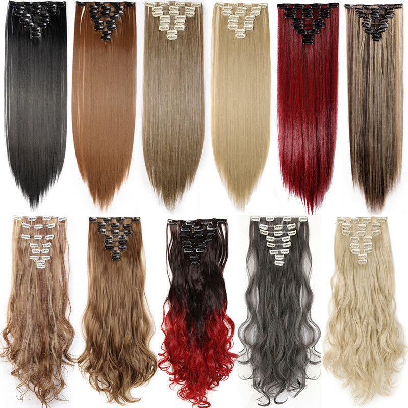 ON CLEARANCE Clip in 100% Real Natural as Human Hair Extensions 8 Pcs  Long Wavy 6