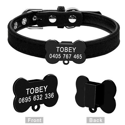 Personalized Cat Dog Collar Bone Shape Black Tags Engraved Name Phone with Bell 6