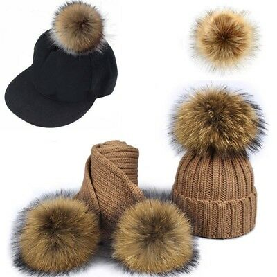 DIY Women Faux Raccoon Fur Pom Poms Ball for Knitting Beanie Hat Accessories Ak 8