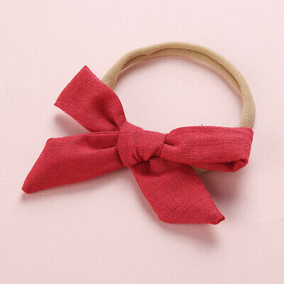 Kids Baby Toddler Cotton Linen Nylon Bow Headband Solid Hairband Hair Ring #N 12