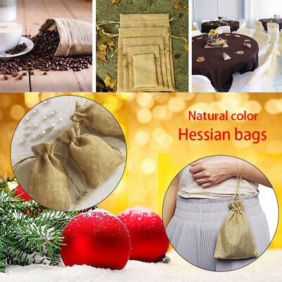 5-50pc Small Burlap Jute Hessian Wedding Favor Pack Gift Bags Drawstring Pouches 4
