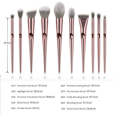 10pcs Pro Makeup Brushes Set Foundation Powder Blush Beauty Cosmetic Brush Tools 3