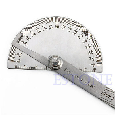 New Stainless Steel 180 degree Protractor Angle Finder Arm Measuring Ruler Tool 8