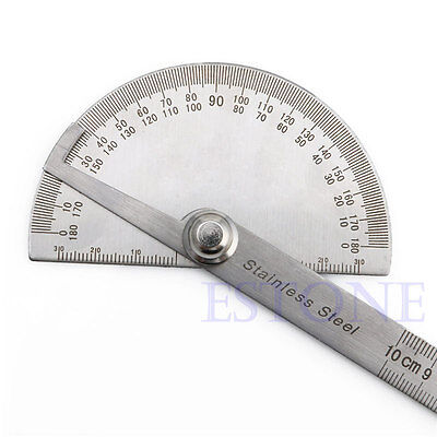 Stainless Steel 180 degree Protractor Angle Finder Arm Rotary Measuring Ruler 8