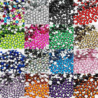 2000 Choose Colour Crystal Flat Back Nail Art Face Festival Rhinestones Gems 4