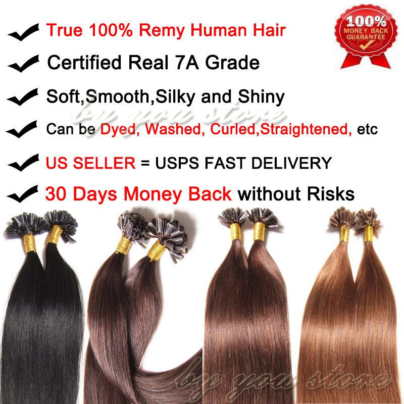 50100200s 7a Pre Bonded Keratin U Tip Nail Remy Real Human Hair