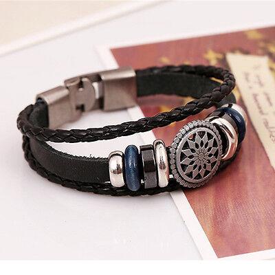 Cool Style Punk Unisex Women Men Wristband Metal Studded Leather Bracelet Cool 5