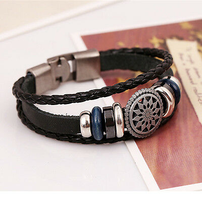 Unisex Women Men Cool Punk Metal Studded Trendy Wristband Leather Bracelet 5