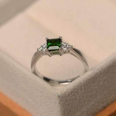 Elegant Women's Wedding Set Rings 925 Silver Princess Cut Emerald Ring Size6-10 2