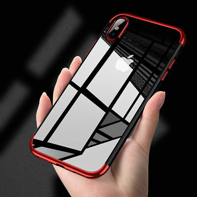 For iPhone X 8 7 6S Plus Case Electroplate Silicone Ultra Slim Clear Soft Cover 6