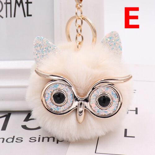 Charm Owl Keychain Fox Faux Fur Cute Pompom Ball Pendant Soft Car Keyring Purse 6