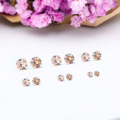 Fashion Woman Silver Plated Round Cubic Zirconia Crystal Stud Earrings Jewelry 11