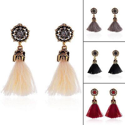 Women Thread Long Tassel Earrings Rhinestone Drop Statement Fringe Earrings 3