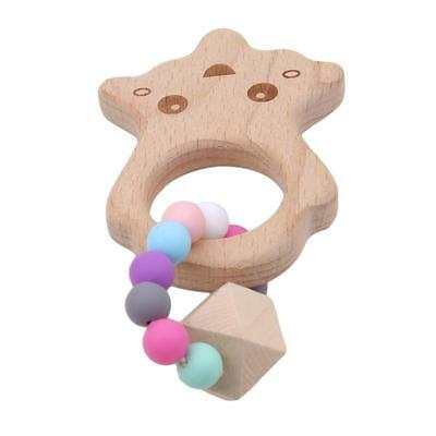 Baby Nursing Bracelet Wooden Silicone Chew Beads Teething Rattles Toy Teether HZ 8