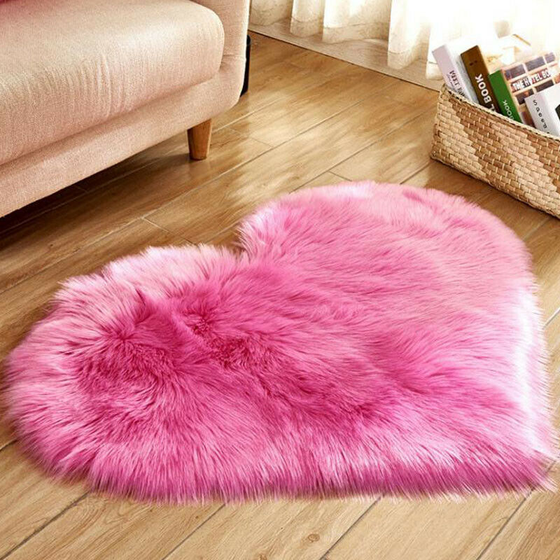 Heart Shaped Fluffy Rugs Anti-Skid Shaggy Area Rug Carpet Home Bedroom Floor Mat 12
